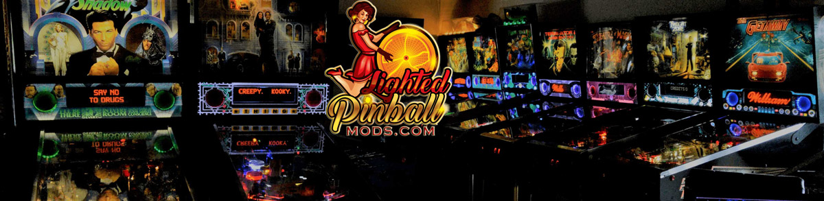 LED Pinball Machines lined in a row with installed Lighted Speaker Panels LED Upgrade Kit