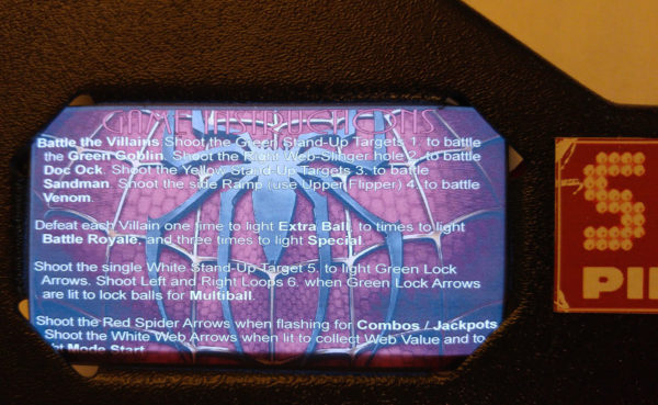 Spiderman Pinball EL Panel