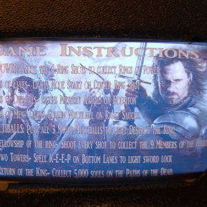 Lord of the Rings Pinball EL Panel