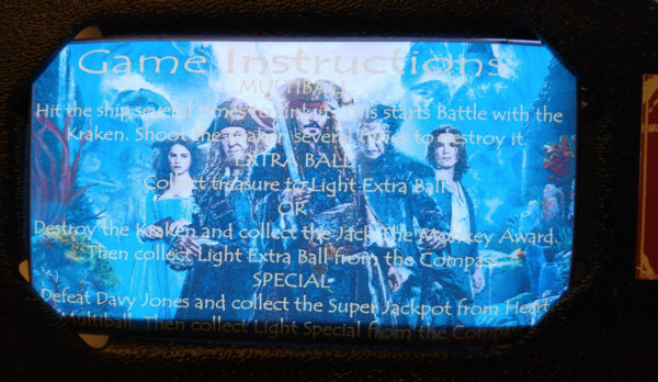 Pirates of the Caribbean Pinball EL Panel